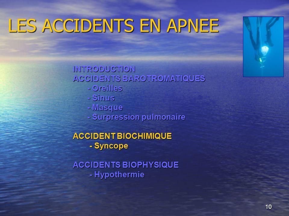 10 LES ACCIDENTS EN APNEE INTRODUCTION ACCIDENTS BAROTROMATIQUES - Oreilles - Sinus - Masque - Surpression pulmonaire ACCIDENT BIOCHIMIQUE - Syncope -