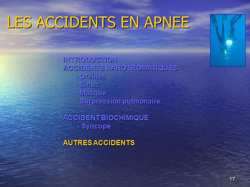 17 LES ACCIDENTS EN APNEE INTRODUCTION ACCIDENTS BAROTROMATIQUES - Oreilles - Sinus - Masque - Surpression pulmonaire ACCIDENT BIOCHIMIQUE - Syncope -