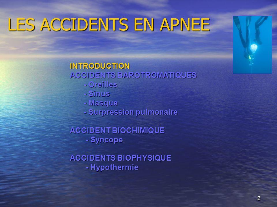 2 LES ACCIDENTS EN APNEE INTRODUCTION ACCIDENTS BAROTROMATIQUES - Oreilles - Sinus - Masque - Surpression pulmonaire ACCIDENT BIOCHIMIQUE - Syncope -
