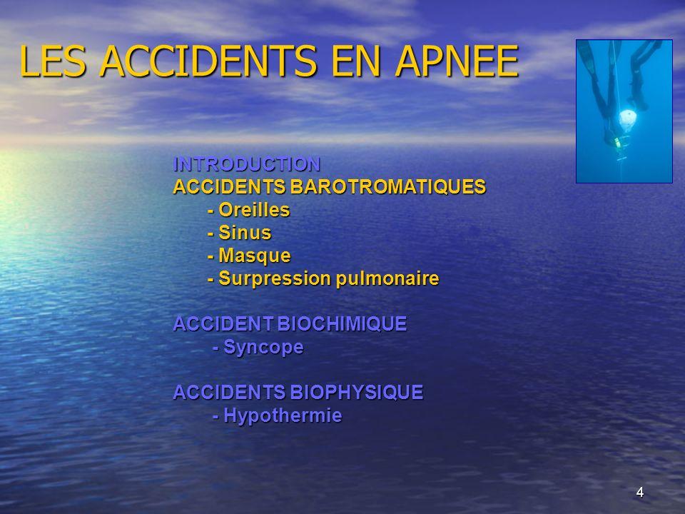 4 LES ACCIDENTS EN APNEE INTRODUCTION ACCIDENTS BAROTROMATIQUES - Oreilles - Sinus - Masque - Surpression pulmonaire ACCIDENT BIOCHIMIQUE - Syncope -