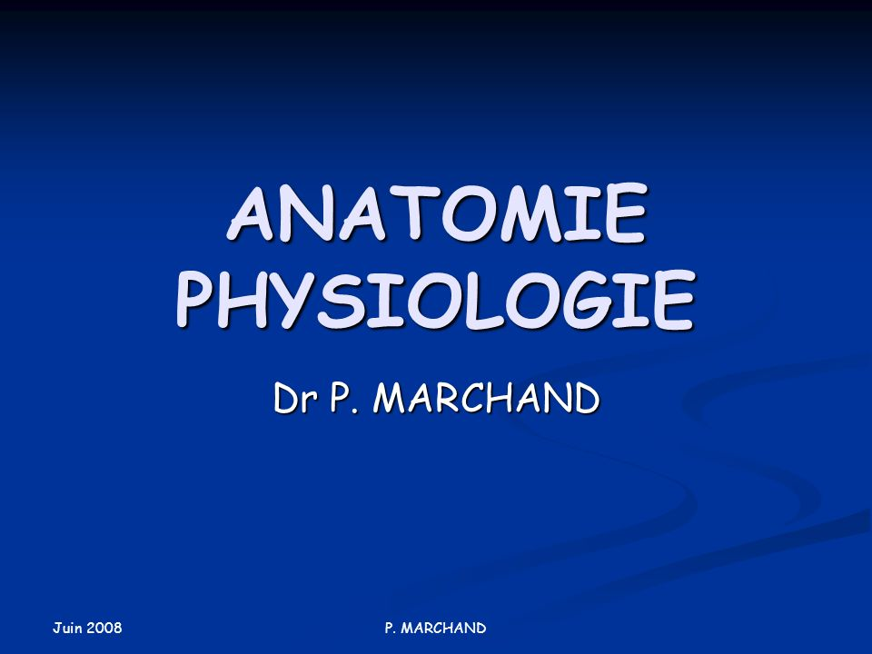 Juin 2008 P. MARCHAND ANATOMIE PHYSIOLOGIE Dr P. MARCHAND