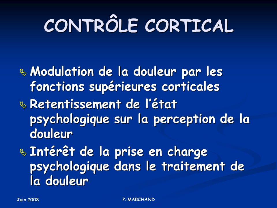 Juin 2008 P. MARCHAND CONTRÔLE CORTICAL Modulation de la douleur par les fonctions supérieures corticales Modulation de la douleur par les fonctions s
