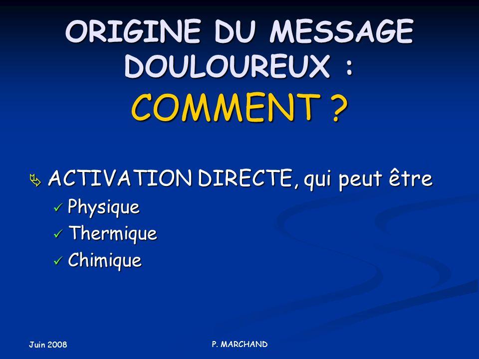 Juin 2008 P. MARCHAND ORIGINE DU MESSAGE DOULOUREUX : COMMENT ? ACTIVATION DIRECTE, qui peut être ACTIVATION DIRECTE, qui peut être Physique Physique