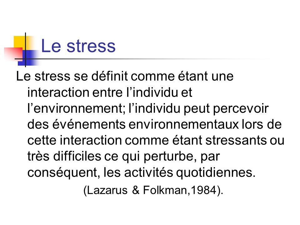 Le stress Le stress se définit comme étant une interaction entre lindividu et lenvironnement; lindividu peut percevoir des événements environnementaux