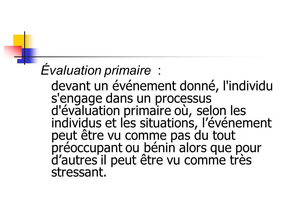 Évaluation primaire : devant un événement donné, l'individu s'engage dans un processus d'évaluation primaire où, selon les individus et les situations