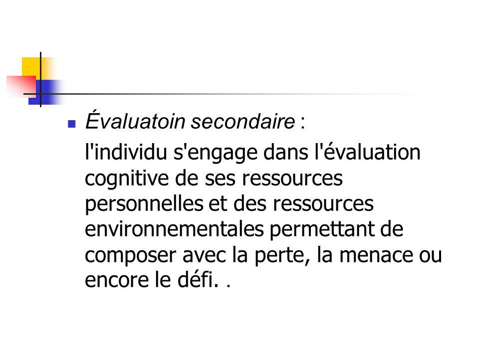 Évaluatoin secondaire : l'individu s'engage dans l'évaluation cognitive de ses ressources personnelles et des ressources environnementales permettant