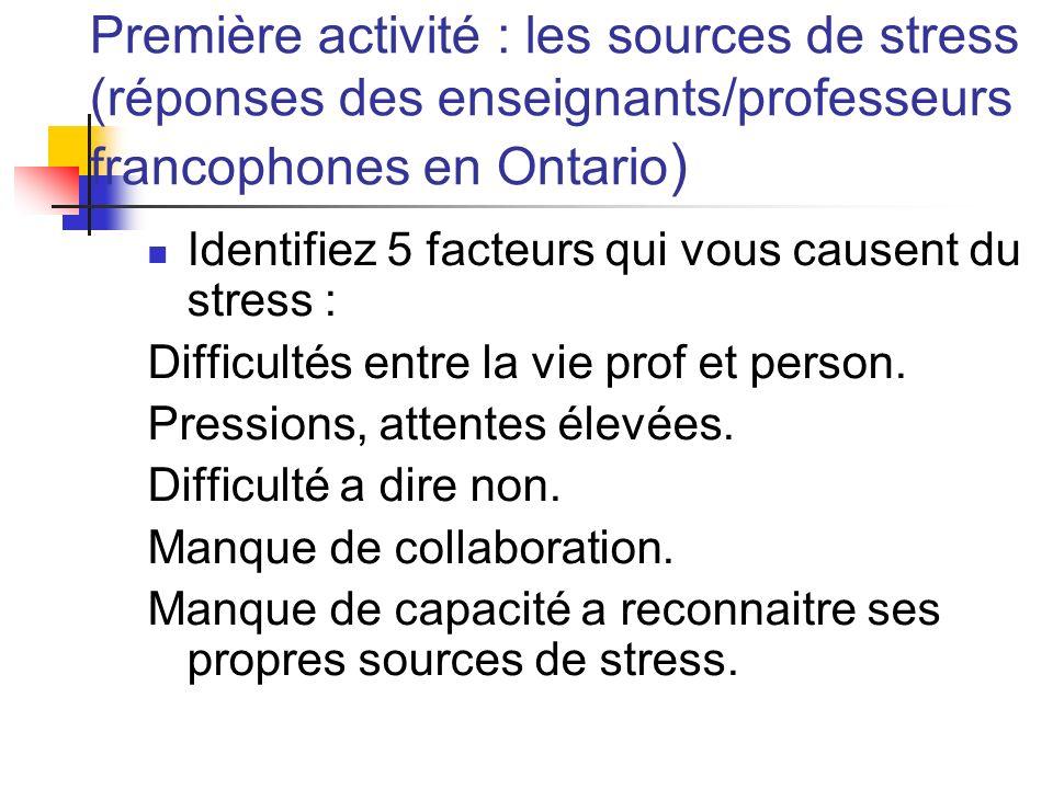 Première activité : les sources de stress (réponses des enseignants/professeurs francophones en Ontario ) Identifiez 5 facteurs qui vous causent du st
