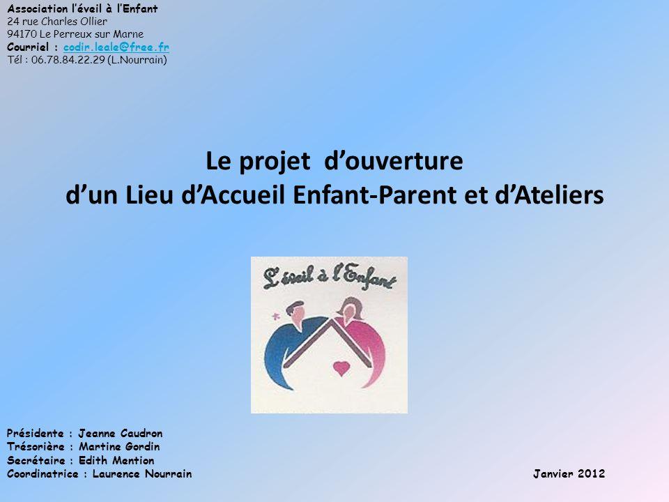 Le projet douverture dun Lieu dAccueil Enfant-Parent et dAteliers Association léveil à lEnfant 24 rue Charles Ollier 94170 Le Perreux sur Marne Courri