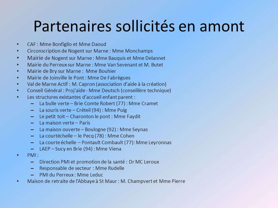 Partenaires sollicités en amont CAF : Mme Bonfiglio et Mme Daoud Circonscription de Nogent sur Marne : Mme Monchamps Mairie de Nogent sur Marne : Mme