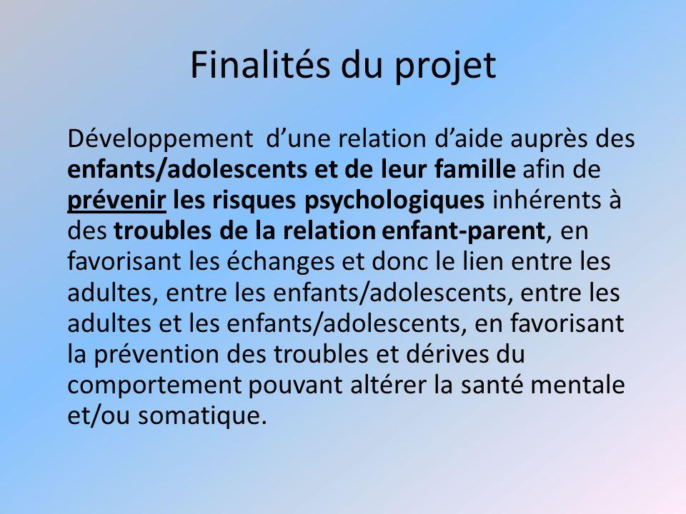 Finalités du projet Développement dune relation daide auprès des enfants/adolescents et de leur famille afin de prévenir les risques psychologiques in