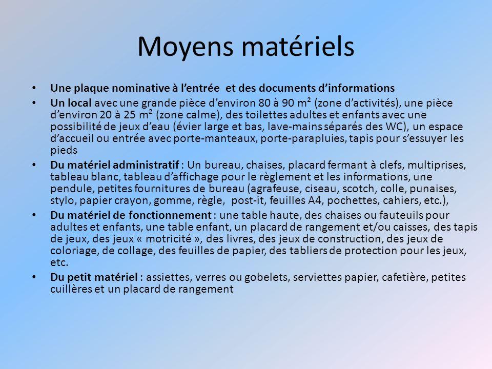 Moyens matériels Une plaque nominative à lentrée et des documents dinformations Un local avec une grande pièce denviron 80 à 90 m² (zone dactivités),