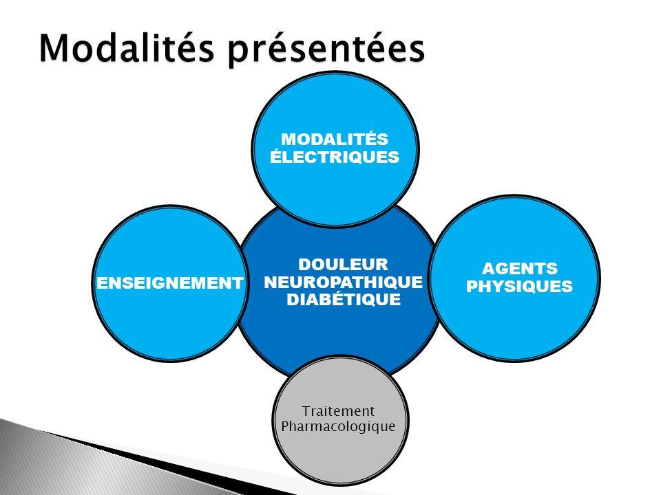 DOULEUR NEUROPATHIQUE DIABÉTIQUE Modalités présentées MODALITÉS ÉLECTRIQUES ENSEIGNEMENT Traitement Pharmacologique AGENTS PHYSIQUES