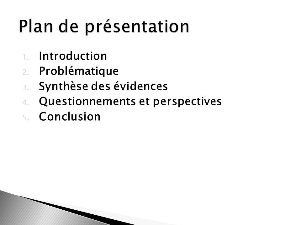 1. Introduction 2. Problématique 3. Synthèse des évidences 4. Questionnements et perspectives 5. Conclusion