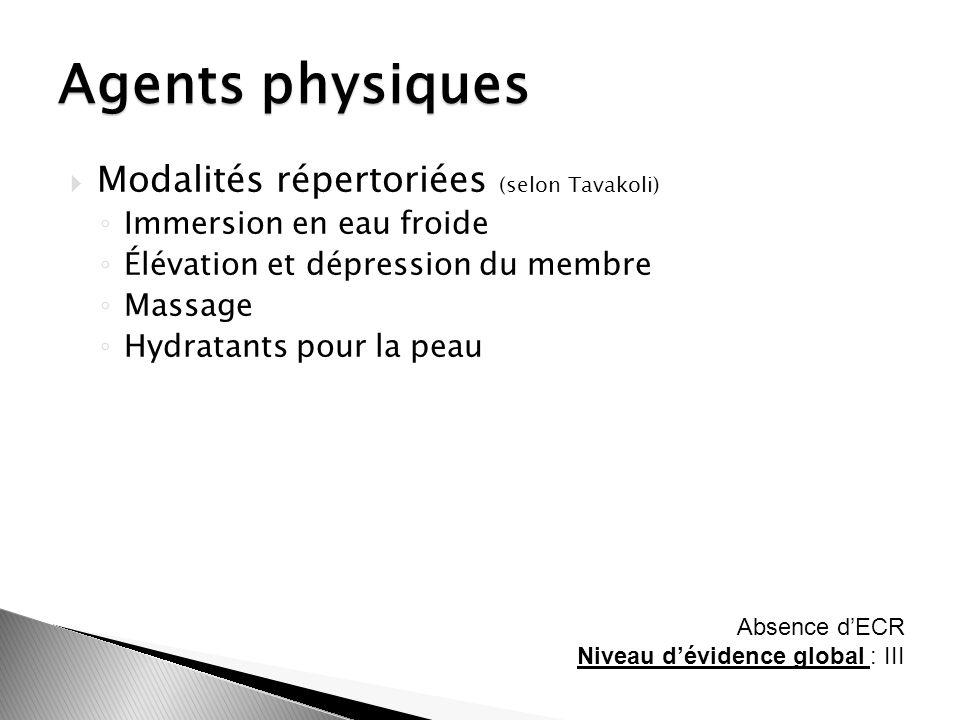 Modalités répertoriées (selon Tavakoli) Immersion en eau froide Élévation et dépression du membre Massage Hydratants pour la peau Agents physiques Abs