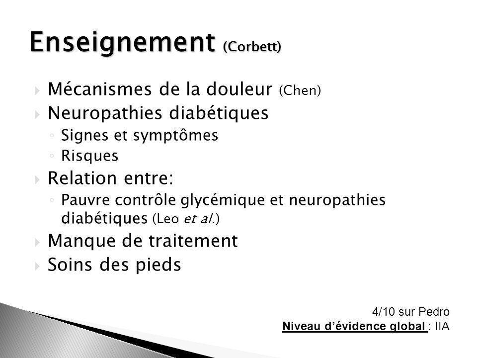 Mécanismes de la douleur (Chen) Neuropathies diabétiques Signes et symptômes Risques Relation entre: Pauvre contrôle glycémique et neuropathies diabét