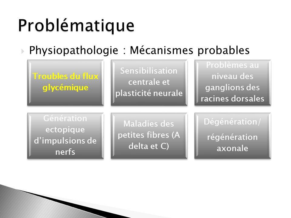 Physiopathologie : Mécanismes probables Troubles du flux glycémique Sensibilisation centrale et plasticité neurale Problèmes au niveau des ganglions d
