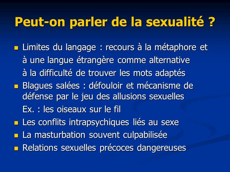 Peut-on parler de la sexualité ? Limites du langage : recours à la métaphore et Limites du langage : recours à la métaphore et à une langue étrangère