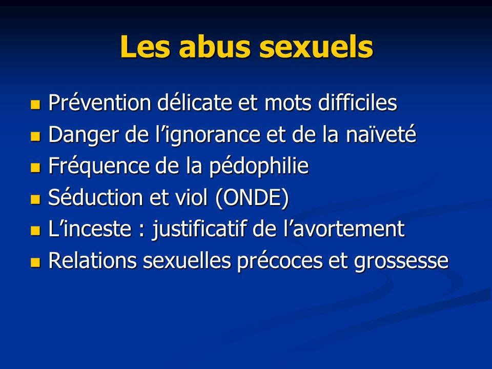 Les abus sexuels Prévention délicate et mots difficiles Prévention délicate et mots difficiles Danger de lignorance et de la naïveté Danger de lignora