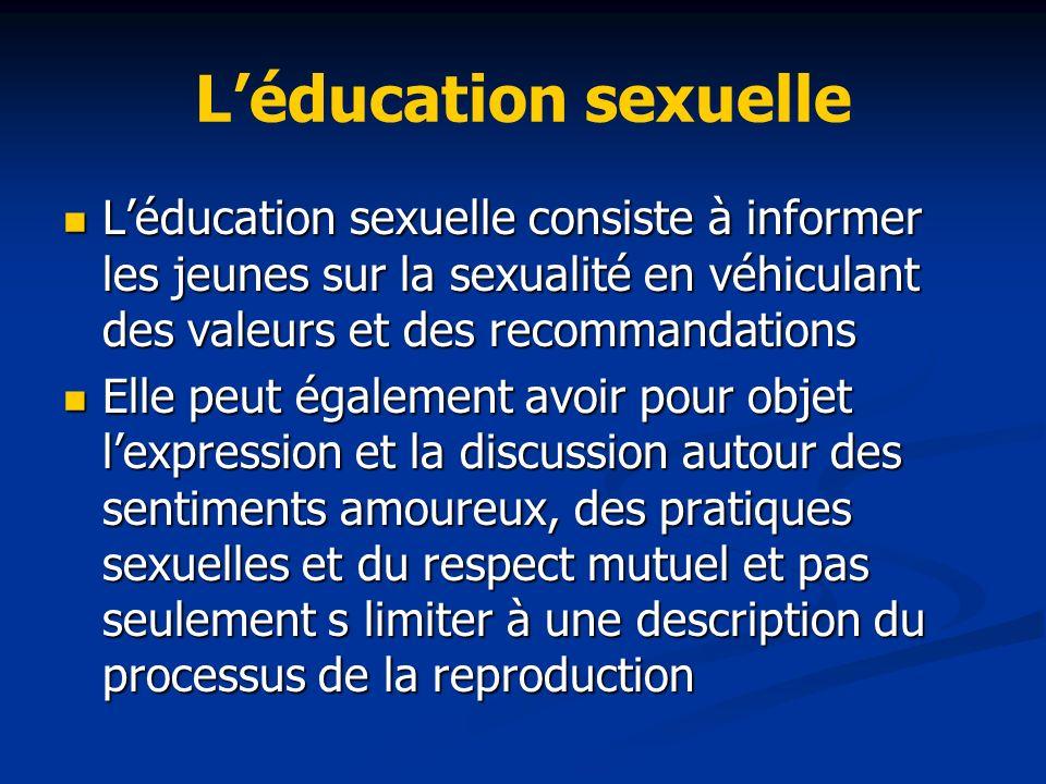 Léducation sexuelle Léducation sexuelle consiste à informer les jeunes sur la sexualité en véhiculant des valeurs et des recommandations Léducation se