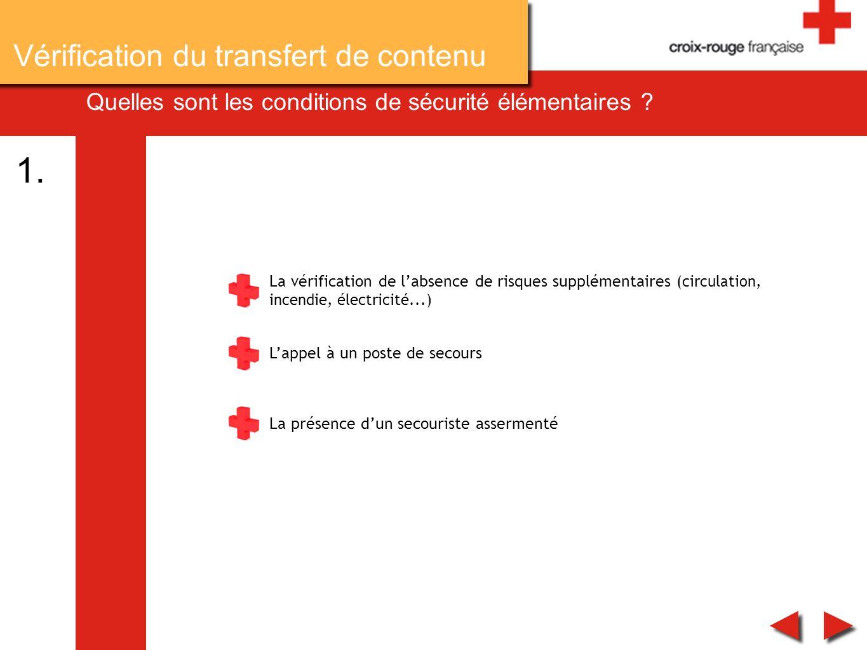 Quelles sont les conditions de sécurité élémentaires ? La vérification de labsence de risques supplémentaires (circulation, incendie, électricité...)
