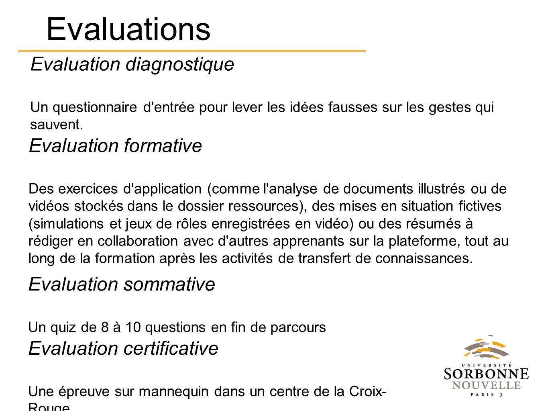 Evaluation diagnostique Un questionnaire d entrée pour lever les idées fausses sur les gestes qui sauvent.