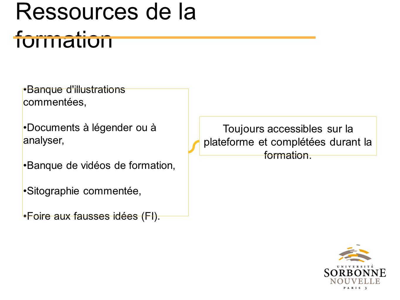 Ressources de la formation Banque d'illustrations commentées, Documents à légender ou à analyser, Banque de vidéos de formation, Sitographie commentée