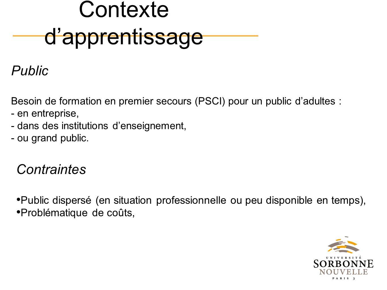 Public Besoin de formation en premier secours (PSCI) pour un public dadultes : - en entreprise, - dans des institutions denseignement, - ou grand publ
