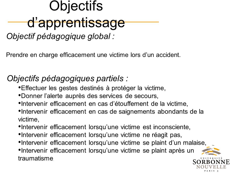 Objectif pédagogique global : Prendre en charge efficacement une victime lors dun accident. Effectuer les gestes destinés à protéger la victime, Donne