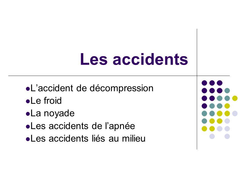Les accidents Laccident de décompression Le froid La noyade Les accidents de lapnée Les accidents liés au milieu