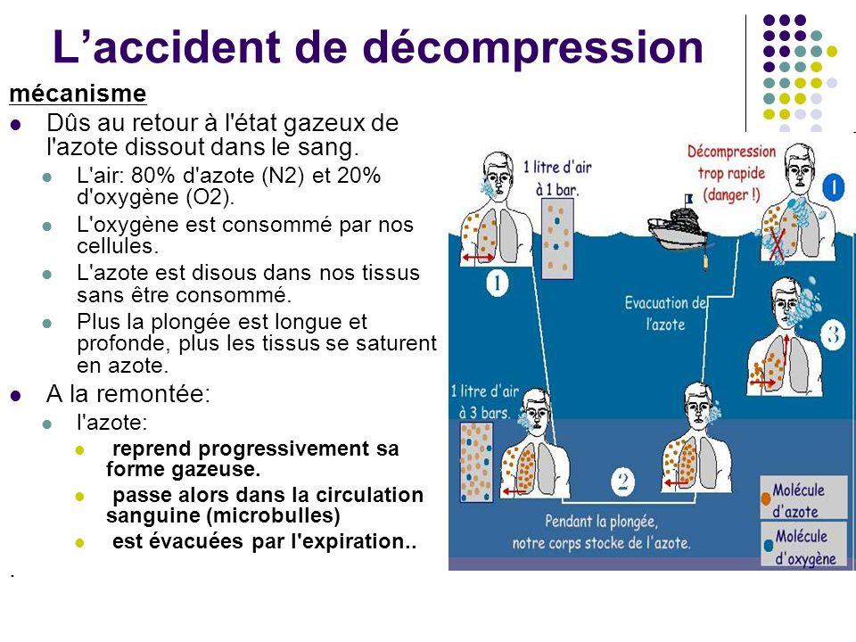 Laccident de décompression mécanisme Dûs au retour à l'état gazeux de l'azote dissout dans le sang. L'air: 80% d'azote (N2) et 20% d'oxygène (O2). L'o