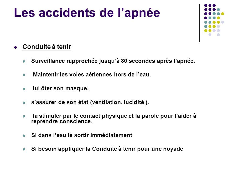 Les accidents de lapnée Conduite à tenir Surveillance rapprochée jusquà 30 secondes après lapnée. Maintenir les voies aériennes hors de leau. lui ôter