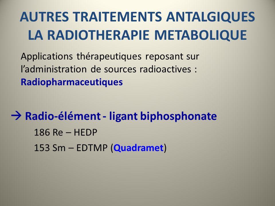 AUTRES TRAITEMENTS ANTALGIQUES LA RADIOTHERAPIE METABOLIQUE 153Sm-EDTMP Réaction osseuse ostéoblastique A Tissu tumoral B mécanisme