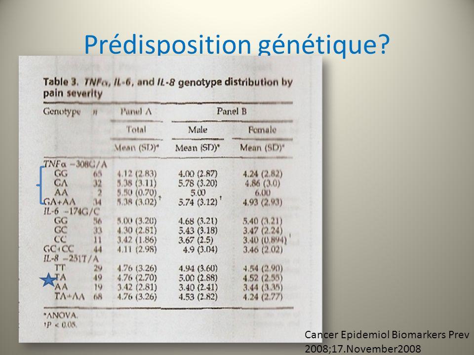 Prédisposition génétique? Cancer Epidemiol Biomarkers Prev 2008;17.November2008