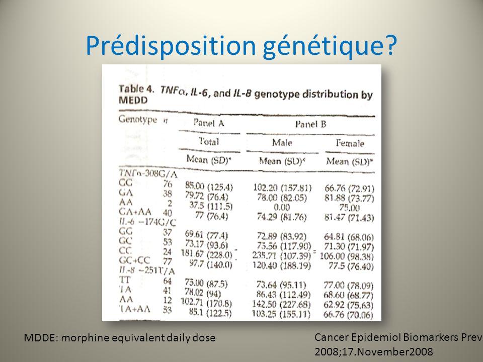 Le TNF308G/A et lIL6174G/C: sont des modulateurs important du ttt antalgique pour le control de la douleur LIL8: est associée à la sévérité de la douleur initiale avant tout ttt