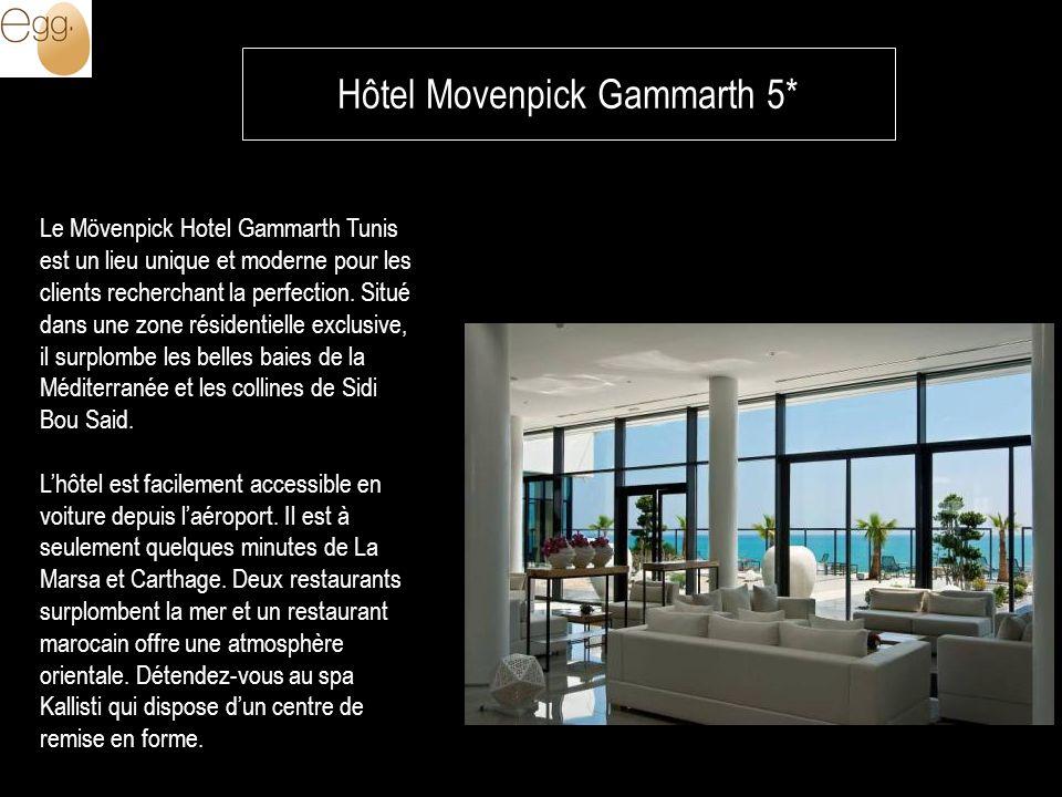 Hôtel Movenpick Gammarth 5* Le Mövenpick Hotel Gammarth Tunis est un lieu unique et moderne pour les clients recherchant la perfection.