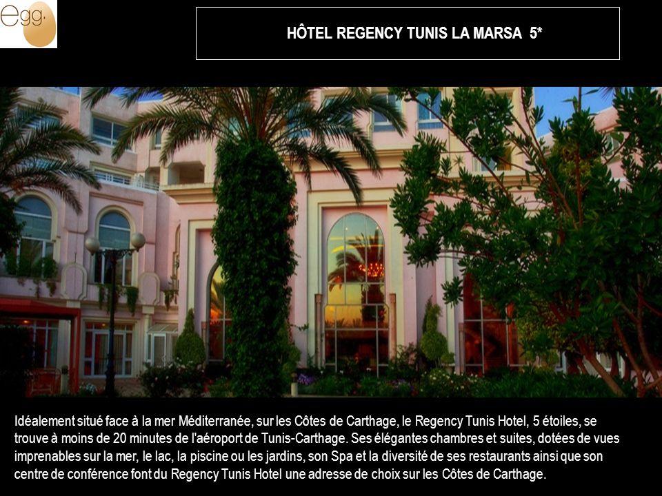 Idéalement situé face à la mer Méditerranée, sur les Côtes de Carthage, le Regency Tunis Hotel, 5 étoiles, se trouve à moins de 20 minutes de l aéroport de Tunis-Carthage.