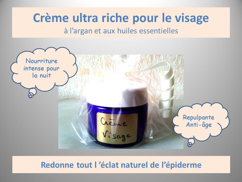 Crème ultra riche pour le visage à largan et aux huiles essentielles Nourriture intense pour la nuit Repulpante Anti-âge Redonne tout l éclat naturel
