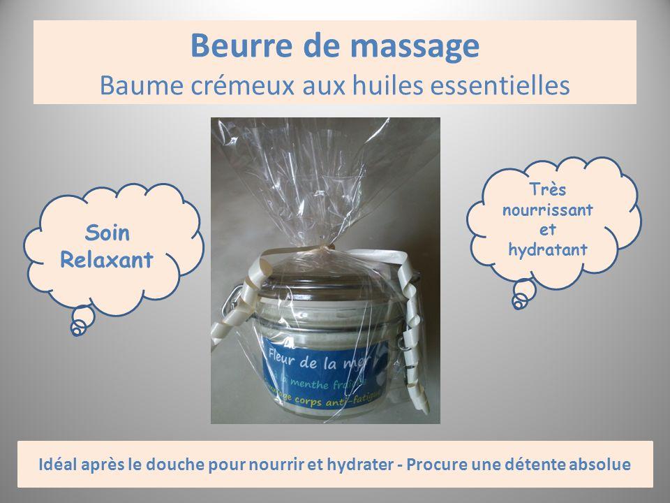 Beurre de massage Baume crémeux aux huiles essentielles Soin Relaxant Très nourrissant et hydratant Idéal après le douche pour nourrir et hydrater - P