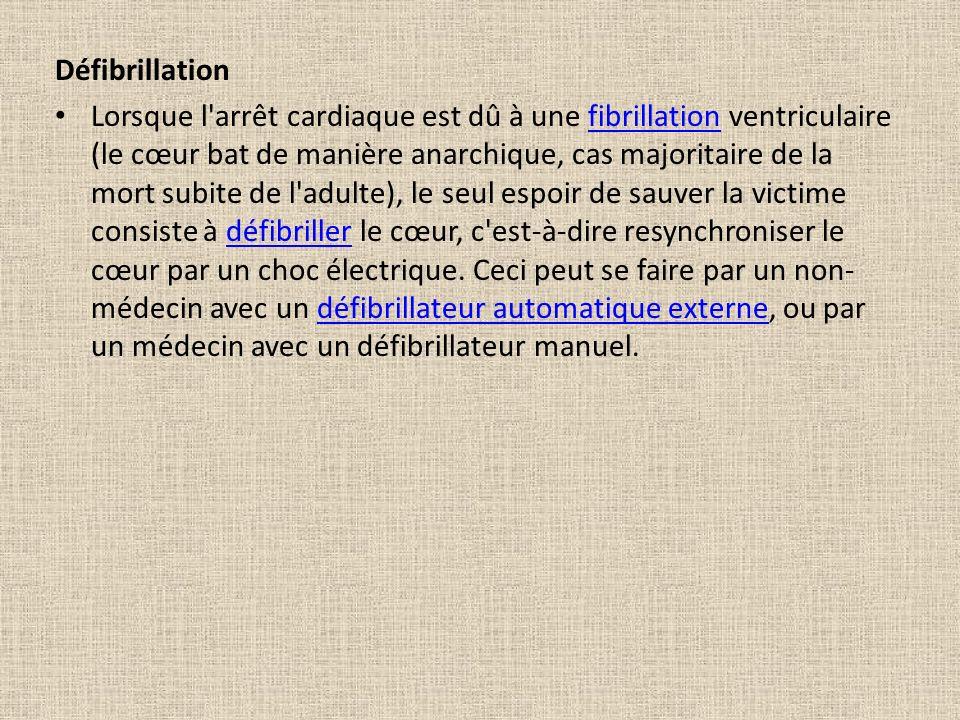 Défibrillation Lorsque l'arrêt cardiaque est dû à une fibrillation ventriculaire (le cœur bat de manière anarchique, cas majoritaire de la mort subite