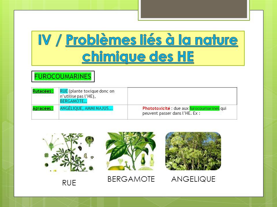 Rutacées :RUE (plante toxique donc on nutilise pas lHE), BERGAMOTE… Apiacées :ANGÉLIQUE, AMMI MAJUS...Phototoxicité : due aux furocoumarines qui peuve