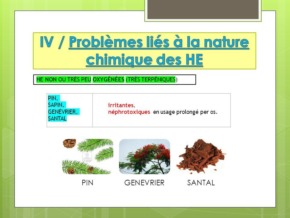 PIN, SAPIN, GENÉVRIER, SANTAL irritantes, néphrotoxiques en usage prolongé per os.