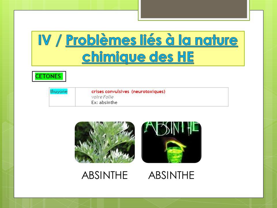 thuyone crises convulsives (neurotoxiques) voire Folie Ex: absinthe CETONES ABSINTHE