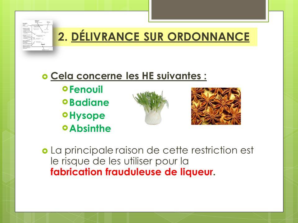 Cela concerne les HE suivantes : Fenouil Badiane Hysope Absinthe La principale raison de cette restriction est le risque de les utiliser pour la fabrication frauduleuse de liqueur.