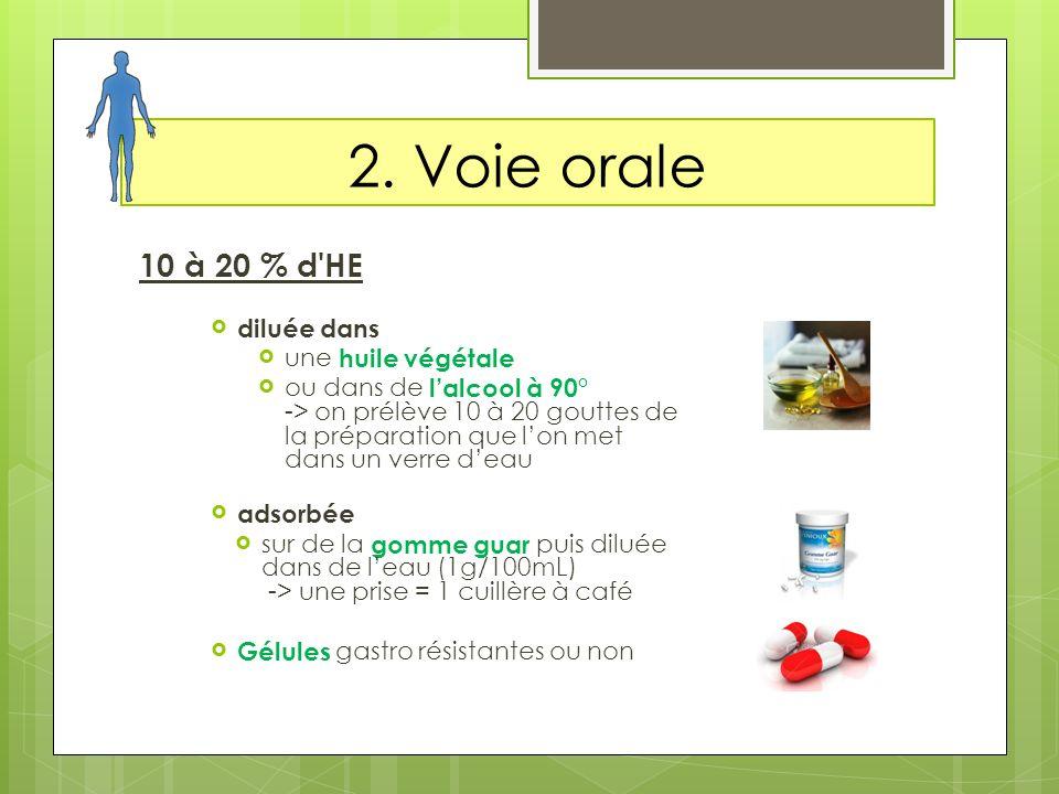 2. Voie orale 10 à 20 % d'HE diluée dans une huile végétale ou dans de lalcool à 90° -> on prélève 10 à 20 gouttes de la préparation que lon met dans