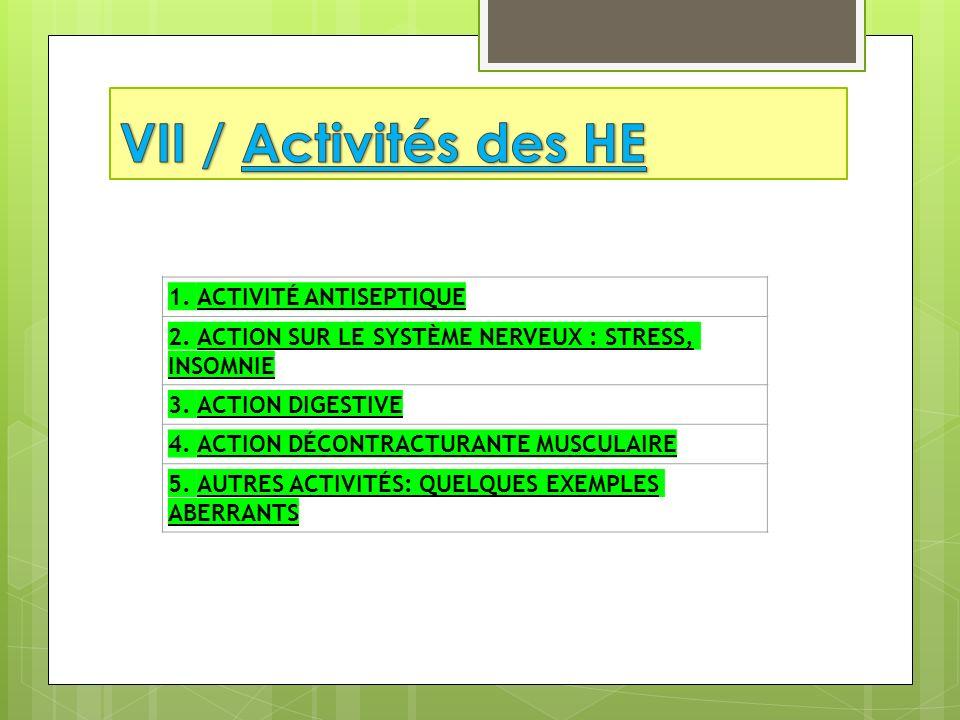 1. ACTIVITÉ ANTISEPTIQUE 2. ACTION SUR LE SYSTÈME NERVEUX : STRESS, INSOMNIE 3. ACTION DIGESTIVE 4. ACTION DÉCONTRACTURANTE MUSCULAIRE 5. AUTRES ACTIV