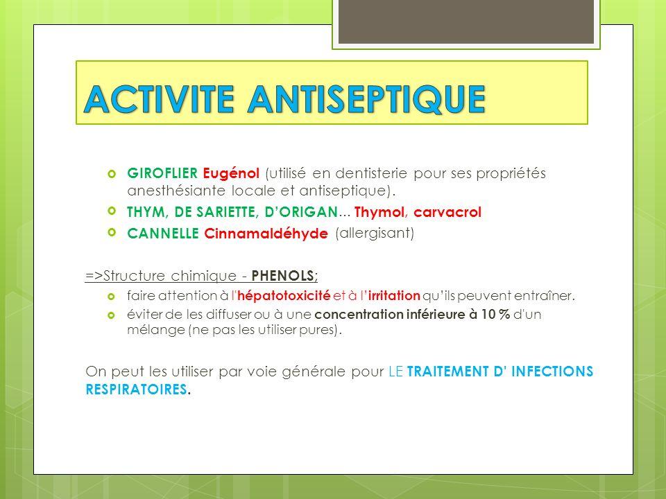 GIROFLIER Eugénol (utilisé en dentisterie pour ses propriétés anesthésiante locale et antiseptique). THYM, DE SARIETTE, DORIGAN... Thymol, carvacrol C