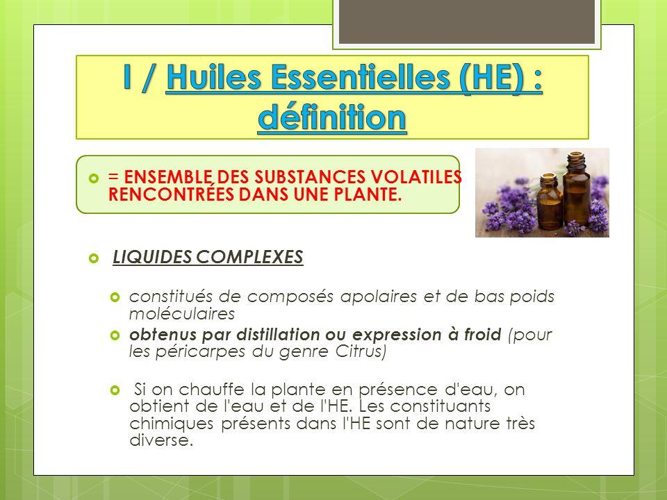 1 / Huiles Essentielles (HE) : définition 2 / Propriétés fondamentales 3 / CI absolues 4 / Problèmes liés à la nature chimique des HE 5 / Cas particuliers 6 / Voies dadministration 7 / Activités 8 / Conseil au client 9 / CONCLUSION