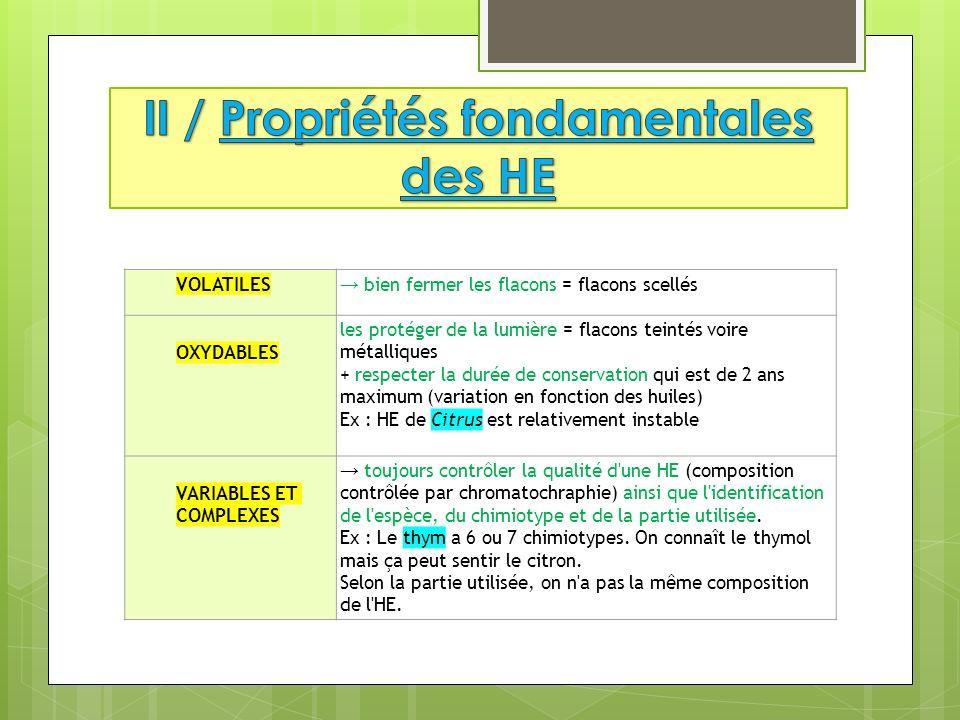 1 / Huiles Essentielles (HE) : définition 2 / Propriétés fondamentales 3 / CI ABSOLUES DES HE 4 / Problèmes liés à la nature chimique 5 / Cas particuliers 6 / Voies dadministration 7 / Activités 8 / Conseil au client 9 / CONCLUSION