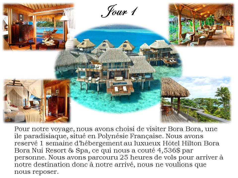Jour 1 Pour notre voyage, nous avons choisi de visiter Bora Bora, une île paradisiaque, situé en Polynésie Française. Nous avons reservé 1 semaine dhé