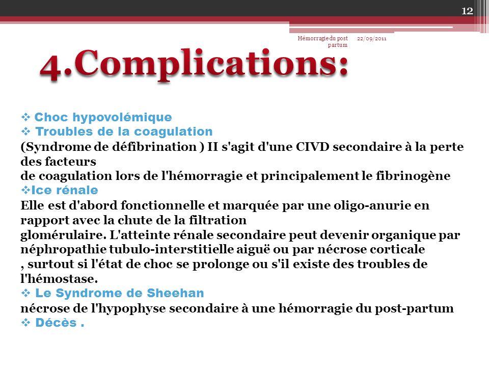 Choc hypovolémique Troubles de la coagulation (Syndrome de défîbrination ) II s'agit d'une CIVD secondaire à la perte des facteurs de coagulation lors